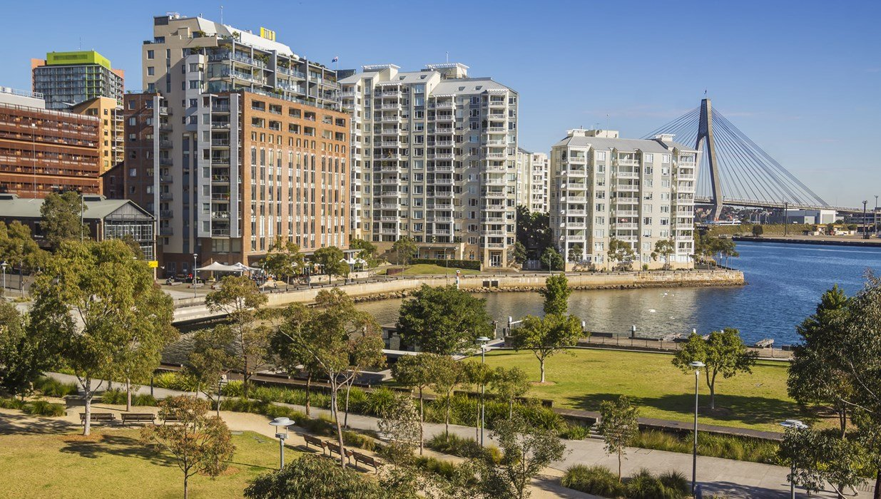Pyrmont residential buildings and commercial businesses