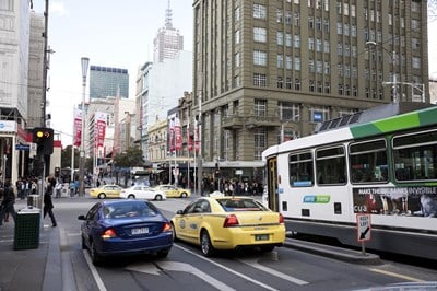 Melbourne CBD street and businesses